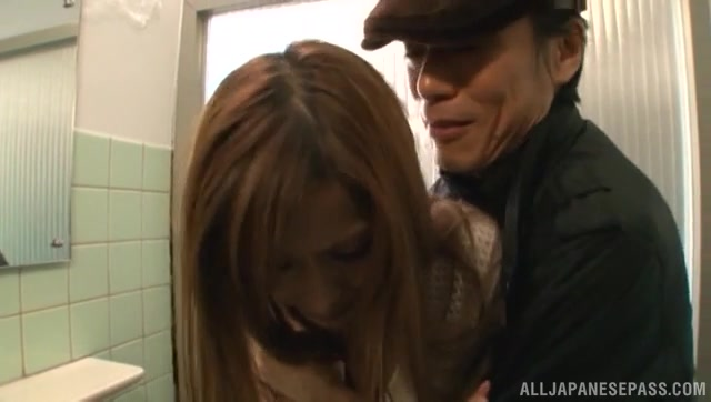 Alluring Japanese milf Akari Asahina goes nasty and has sex with one guy in a toilet.