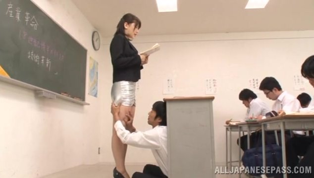 Horny teacher Anri Okita gets banged by student.