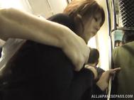 Hot redhead Asian chick in white skirt deepthroats cock in public.