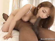 The skillful babe licks their asses and rides their cocks like crazy, and gets a hot mouth cumshot!.