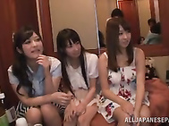 Cute Japanese AV babe Satou Haruka and her horny girlfriends arrange hardcore gangbang party.