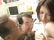 Naughty office lady is a horny Japanese AV Model getting some group action in the break room! She gets in on some foot licking and giving a hot blowjob before she is stuffed doggy style in a hardcore rear fucking and enjoys a creamed pussy from the wild g