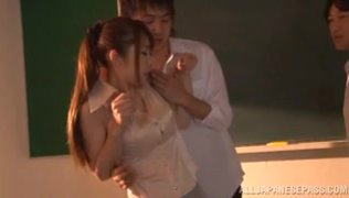Luscious Japanese teacher Azumi Kinoshita never gives up hot group sex action, and she has her horny mouth always ready for cocks of her horny young students.