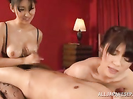 Steamy Japanese dolls decided to share this tasty dick in a smashing threesome porn show as they both feel horny and eager to pound their wet pussies and mouths.