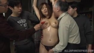 She enjoys this kind of a group sex game, and begins to masturbate before their eyes to make them hot and ready for Asian hardcore porn banging.