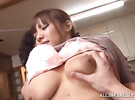 Naughty Japanese milf enjoys having two horny guys licking and fucking her tight holes in one naughty threesome Asian hardcore action that pleases them all and makes her to moan of pleasure feeling huge cocks drilling her tight pussy and ass so she can ha