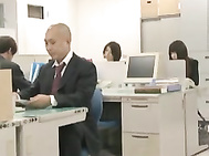 Nice Japanese teen in office suit gets rear fuck in group sex mmmf.