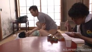 Charming Japanese milf Aoi Nagase gets pleasure of a foursome sex play.