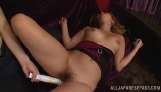 Spreading her beautiful thighs and exposing glorious gapes, she turns on her lover and he stimulates her holes, shoving toys inside, and then just fucks her hard, and she moans from orgasm.