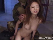 The so-called gangsters tease the poor milf, and she moans with pain and pleasure, and gets her horny mouth fucked by two cocks, and enjoys hardcore bondage sex, getting cum on her pretty face for this Asian porn show.