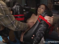 Frog tied JULIA, JP girl in PVC fucked hard and jizzed on - Weird Japan.