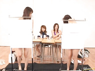 These crazy Japanese teens are playing some hot sex games! This four girls are either naked or standing behind screens before the fun starts.
