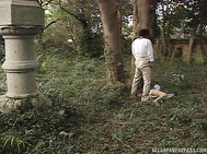 Japanese hottie in kimono starts sucking her man's dick while out in nature, providing him with a great view of her mouth touching his wet dick.