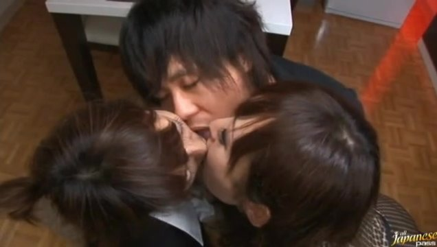 Two Asian teens are going to have some fun with one guy.