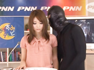 Rina Kato is a hot Asian MILF who likes crazy sex games in public! She is on television doing the news when she is fondled by one of the guys while she is on camera! Later she is in the break room before going back on tv and she has a couple guys interest