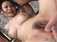 Busty Asian hottie Fujiko Komine is completely naked while her older lover gets behind her and she has her tits kneaded up.