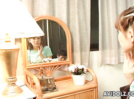 Shizuku Natsukawa in reverse cowgirl and swallowing.